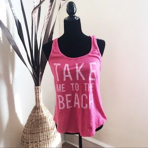 """Old Navy Pink Tank """" Take Me To The Beach"""""""
